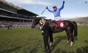 Paul Townend celebrates victory on Penhill.