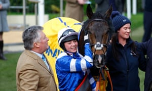 Paul Nicolls with Bryony Frost and Frodon after their Ryanair Chase victory at Cheltenham.