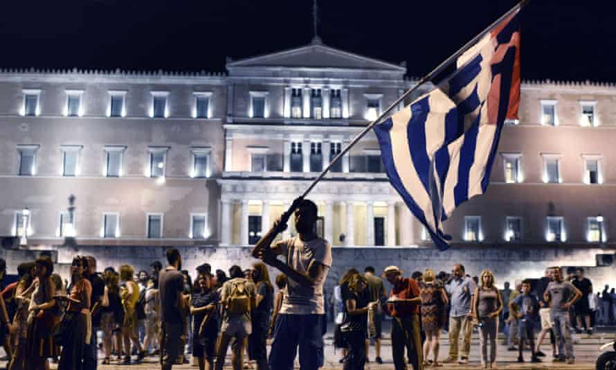Anti-austerity protesters in front of the Greek parliament in Athens.