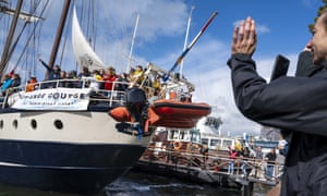 The Regina Maris sailing ship leaving Amsterdam