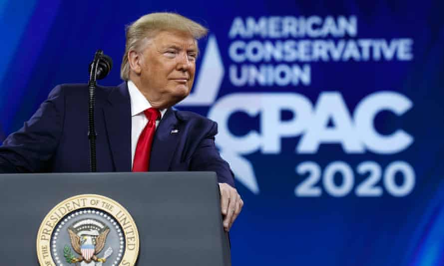 Donald Trump speaks at CPAC in Maryland on 29 February 2020.