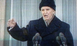 A photo of a television screen of Nicolae Ceaușescu delivering his last public speech from the balcony of the Romanian Communist Party headquarters, 21 December 1989.