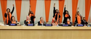 "To mark the International Day for the Elimination of Violence Against Women, cast members from the musical, The Colour Purple, perform the song, ""Hell No!"" at the UN headquarters in New York."