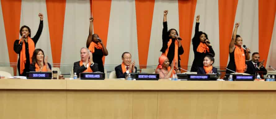 """To mark the International Day for the Elimination of Violence Against Women, cast members from the musical, The Colour Purple, perform the song, """"Hell No!"""" at the UN headquarters in New York."""