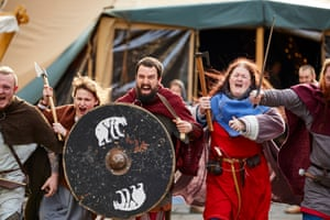 Viking re-enactors in York city centre on the opening day of the annual Jorvik Viking festival