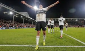 Aleksandar Mitrovic celebrates scoring Fulham's late winner against Huddersfield.