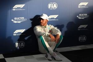 Lewis Hamilton takes in the aftermath of his incredible qualifying lap.
