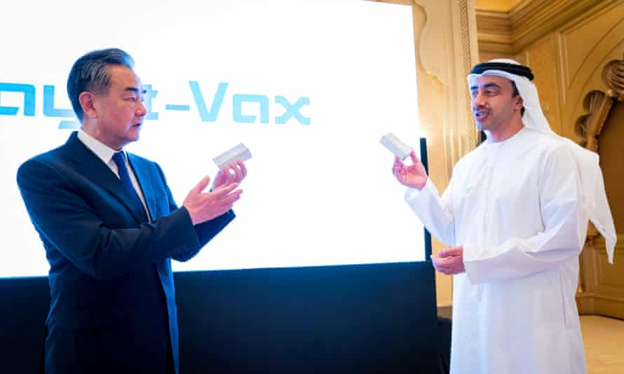 China's foreign minister, Wang Yi, and UAE's foreign minister, Abdullah Bin Zayed Al Nahyan, at talks for the Hayat-Vax vaccine in Abu Dhabi, United Arab Emirates, 28 March 2021.