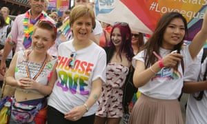 Scotland's first minister, Nicola Sturgeon, second left, at Pride Glasgow.