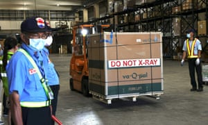 A forklift is used to transport Moderna vaccines against the coronavirus disease (Covid-19) at Taiwan Air cargo Terminal in Taoyuan, Taiwan, June 18, 2021. REUTERS/Ann Wang/File Photo