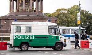 A police road block near the Siegessäule in Berlin, Germany.