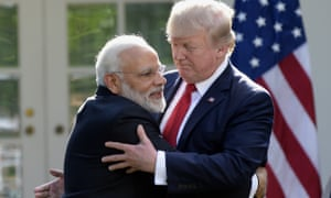 Narendra Modi and Donald Trump embrace in 2017 at the White House in Washington.