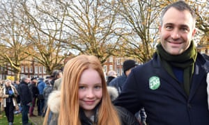 Iris and Ben Goldsmith at a demonstration in Richmond, London.