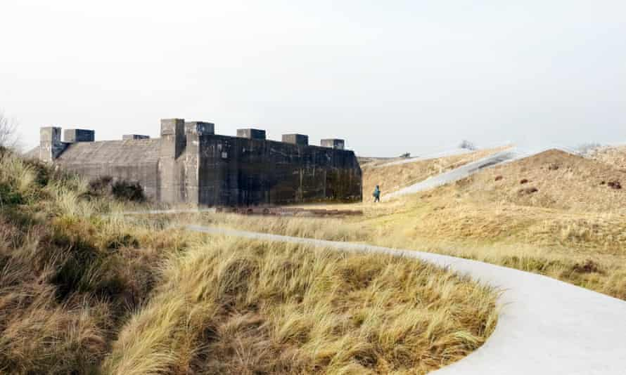 An artist's impression shows how the Atlantic Wall fortification is incorporated into the new building.