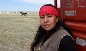 Lucille Contreras, one of the Fort Laramie treaty riders, from the Pine Ridge Reservation poses for a photo in the tribal area on the grounds of the Fort Laramie