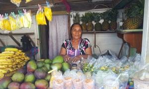 Maria Hernandez, 58, sells fruit and vegetables in San Pedro, Belize. She left El Salvador at the start of the civil war after her husband, a soldier, was killed.