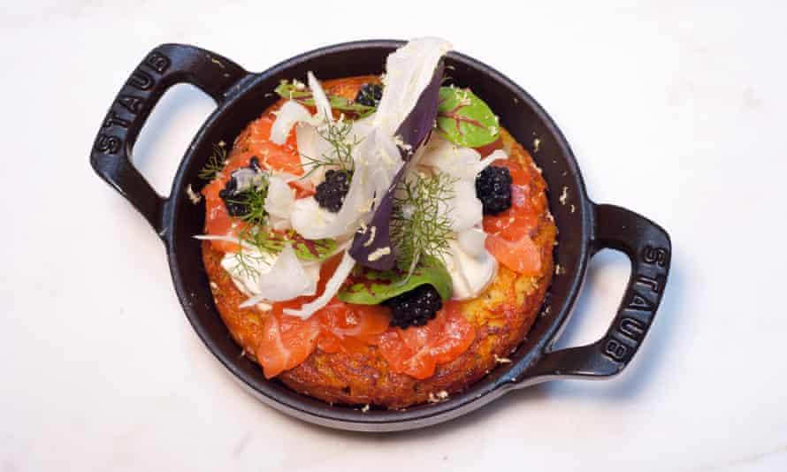 Rosti with salmon, soured cream and caviar