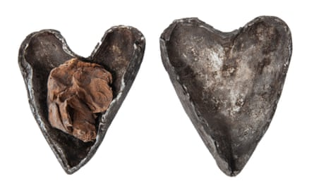A human heart in heart-shaped lead and silver case, found concealed in the crypt beneath Christ's Church, Cork, 12th or 13th century – and now in the Spellbound exhibition.