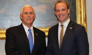 Dominic Raab meeting US vice-president Mike Pence in Washington