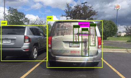 What a self-driving car's camera sees when it looks at a car with an advert on the back.