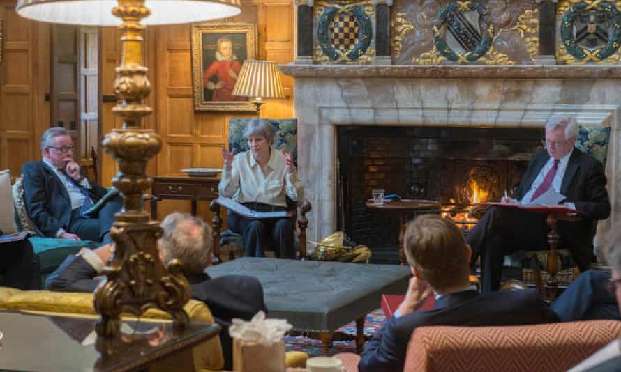Theresa May and Cabinet ministers at the Chequers awayday that agreed little on relations with the EU after Brexit.
