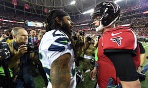 Richard Sherman congratulates Matt Ryan after the Falcons' victory over the Seahawks