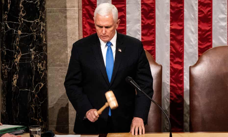 Vice-President Mike Pence resumes presiding over a joint session of Congress to certify the 2020 electoral college results that was interrupted by rioting supporters of Donald Trump on 6 January.