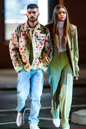 Zayn Malik wearing a Bode jacket, with Gigi Hadid.