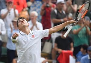 Nishikori celebrates winning his second round match against Tomic.