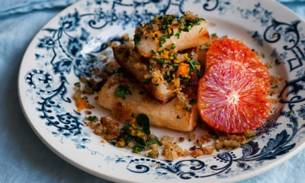 Gold standard: salsify with toasted crumbs and blood orange.