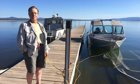 Val Aubrey with her boat, Dream Catcher.