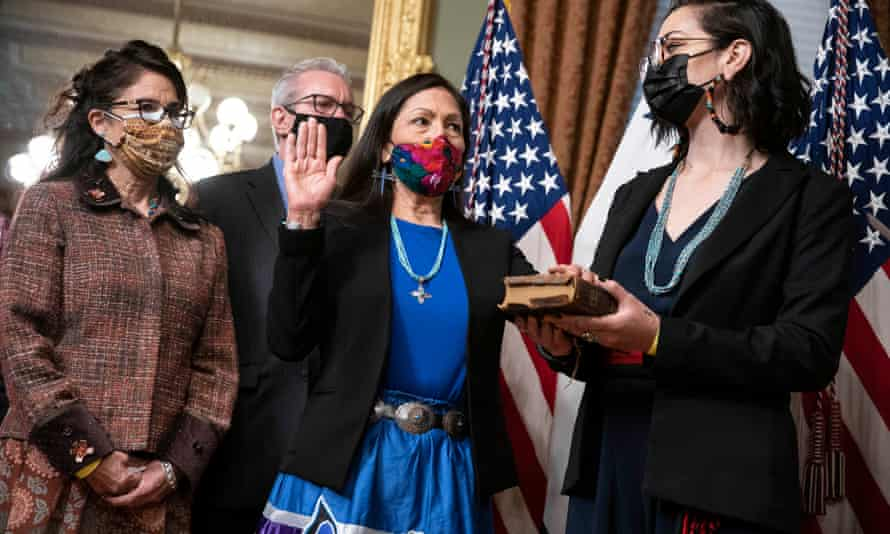 Deb Haaland, pictured here being sworn in last week, is charged with managing natural resources and federal lands that comprise one-fifth of the United States.