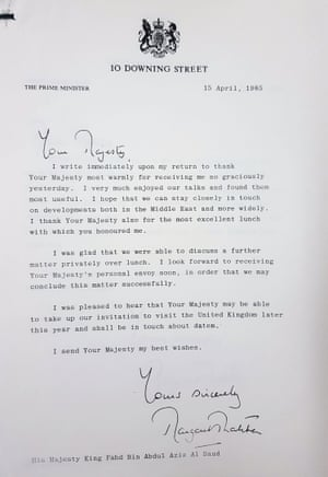 A letter from Margaret Thatcher to the Saudi king.