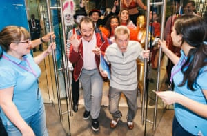 The Chuckle Brothers appear at the head of the queue for the new Apple iPhone 6s in Westfield White City, London, 2015