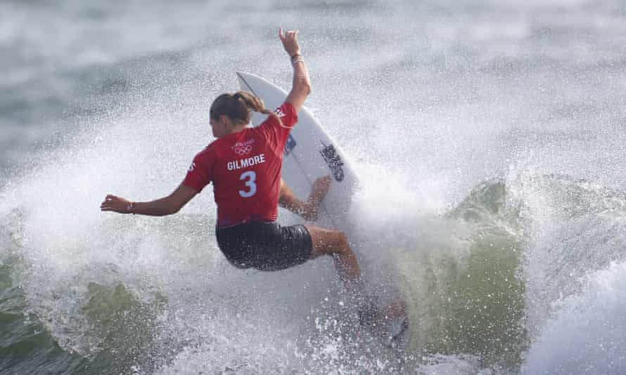 Gilmore attacks a wave during the Tokyo Olympics.