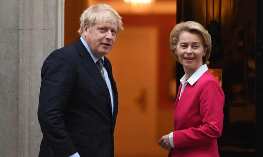 Boris Johnson with the European commission president, Ursula von der Leyen,