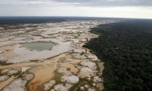 An area deforested by illegal gold mining is seen in a zone known as Mega 14 in the Peruvian southern Amazon region of Madre de Dios.