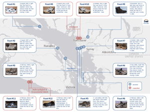This map, released by the British Columbia coroners service, shows where the feet have been found.