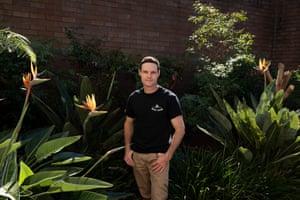 Mark Rapley in a courtyard at John Hunter Hospital, Newcastle