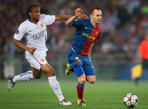 Andrés Iniesta leaves Anderson trailing during his majestic performance in the 2009 Champions League final.