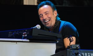 He's havin' a larf … Bruce Springsteen on stage at Wembley Stadium.