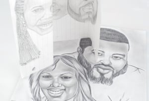 Erica's fiance commissioned one of the prison artists for a family pencil drawing