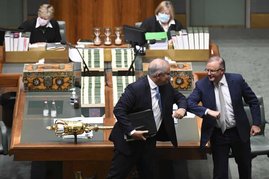 Australian prime minister Scott Morrison and Labor leader Anthony Albanese in parliament