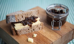 Green tomato chutney by Caroline McGivern for the Observer Tomato supplement. Photo by Linda Nylind. 29/5/2019. Cheese pickle sandwich