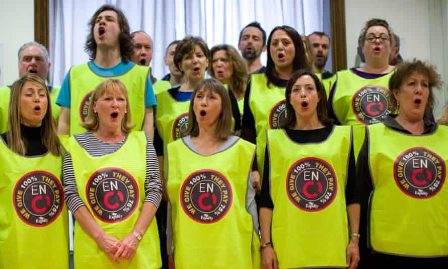 The 44-strong English National Opera chorus sing Hail Poetry from The Pirates of Penzance to launch their campaign to save wages, jobs and, in their eyes, the very future of ENO.