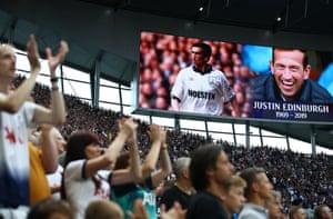 Fans show their respects for Justin Edinburgh before Tottenham kick off against Aston Villa.