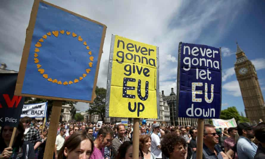 Protesters in Parliament Square during a demonstration against Britain's decision to leave the EU on 2 July 2016