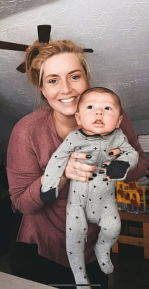 Sierra Martin with baby Steven, to whom she gave birth to – but will give back to his two fathers once travel restrictions are eased.