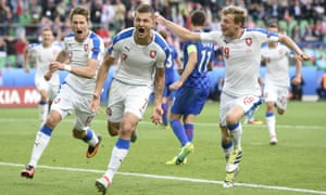 Czech Republic's Tomas Necid celebrates converting the penalty in added time that secured a 2-2 draw against Croatia in Saint-Étienne