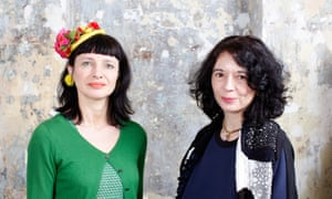 Observer Magazine Ethical Awards winners Orsola de Castro (in navy)  and Carry Sommers (in green) 25/02/2015 at orsolas studio in Peckham. founders of fashion revolution, global initiative to raise awareness of transparency in the fashion suppy chain.